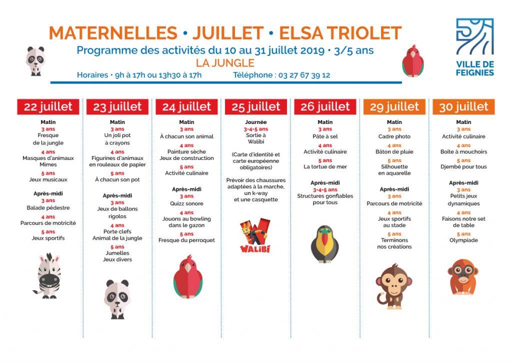 Programme Centre de loisirs Maternelles ans juillet 2019