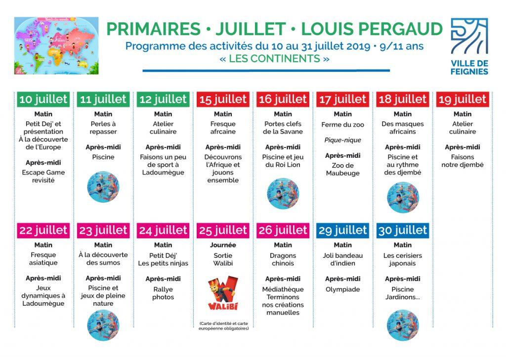 Programme Centre de loisirs Primaires 9_11 ans juillet 2019